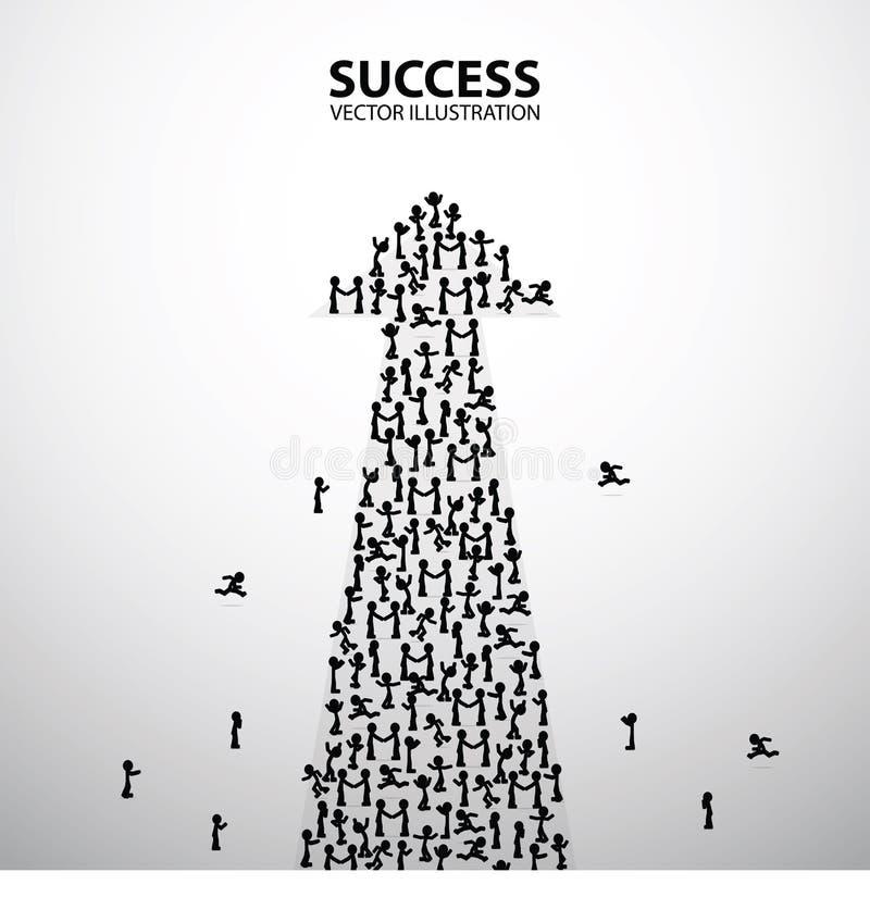Μεγάλη ομάδα ανθρώπων με μορφή ενός βέλους, τρόπος στην επιχειρησιακή έννοια επιτυχίας, διανυσματική απεικόνιση απεικόνιση αποθεμάτων