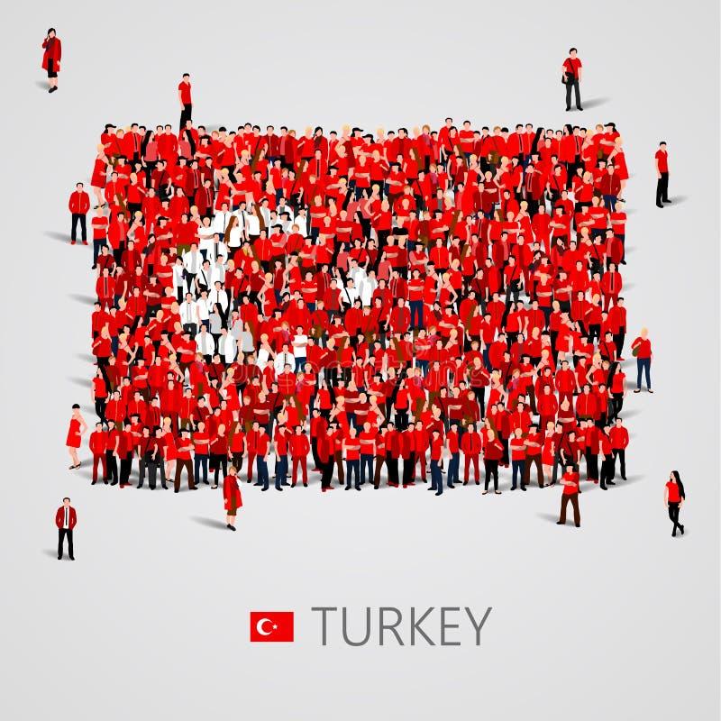 Μεγάλη ομάδα ανθρώπων με μορφή της τουρκικής σημαίας Τουρκική Δημοκρατία ελεύθερη απεικόνιση δικαιώματος