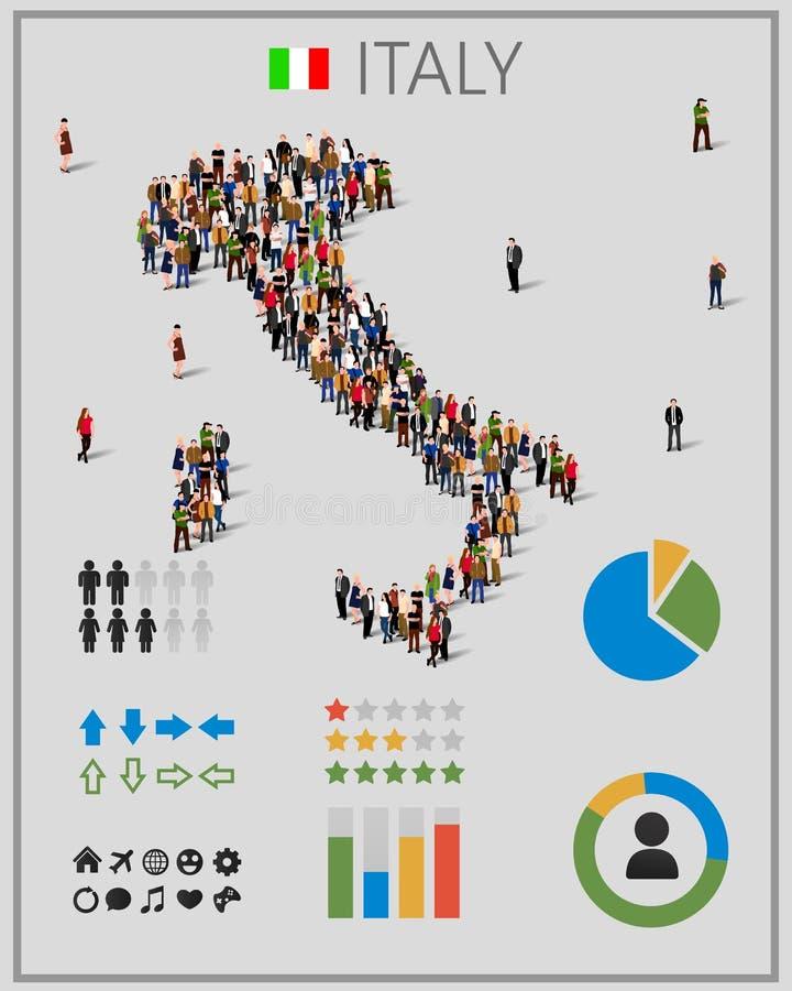 Μεγάλη ομάδα ανθρώπων με μορφή χάρτη της Ιταλίας με τα στοιχεία infographics ελεύθερη απεικόνιση δικαιώματος
