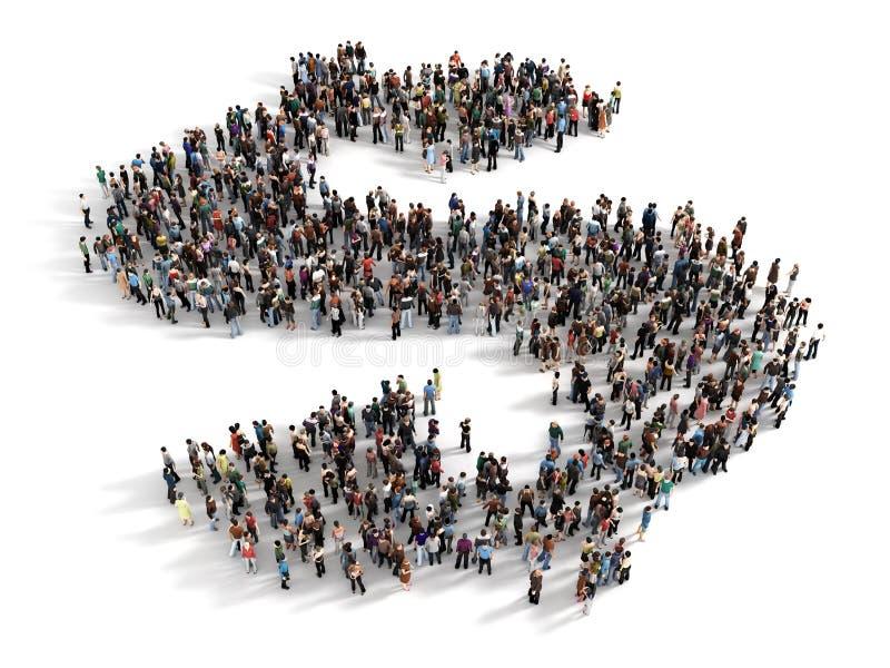 Μεγάλη ομάδα ανθρώπων που διαμορφώνει το σύμβολο ενός σημαδιού δολαρίων Conce απεικόνιση αποθεμάτων