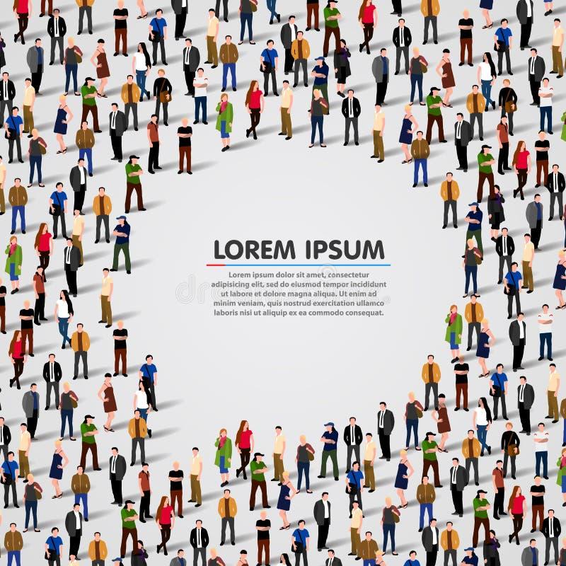 Μεγάλη ομάδα ανθρώπων στη φυσαλίδα συνομιλίας απεικόνιση αποθεμάτων