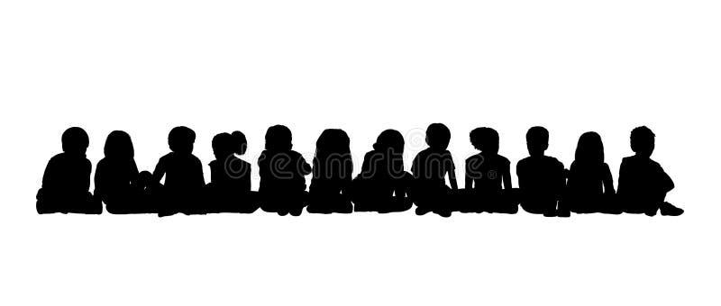 Μεγάλη ομάδα καθισμένης παιδιά σκιαγραφίας 3 διανυσματική απεικόνιση