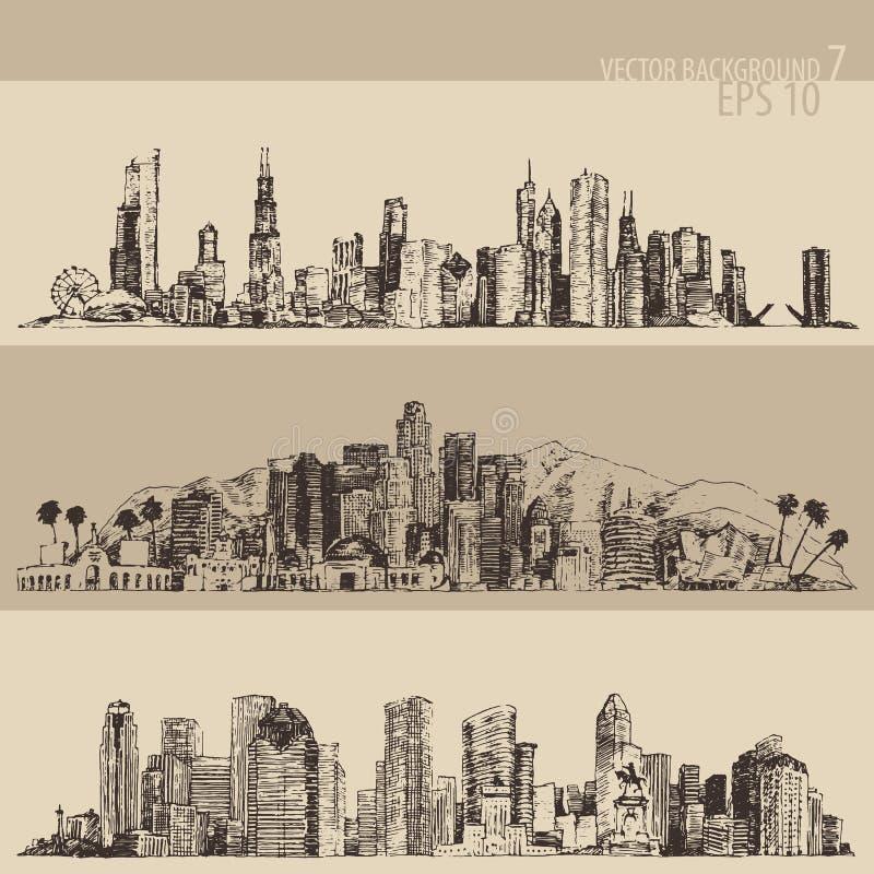 Μεγάλη πόλη του Σικάγου, Λος Άντζελες, Χιούστον που χαράσσεται ελεύθερη απεικόνιση δικαιώματος