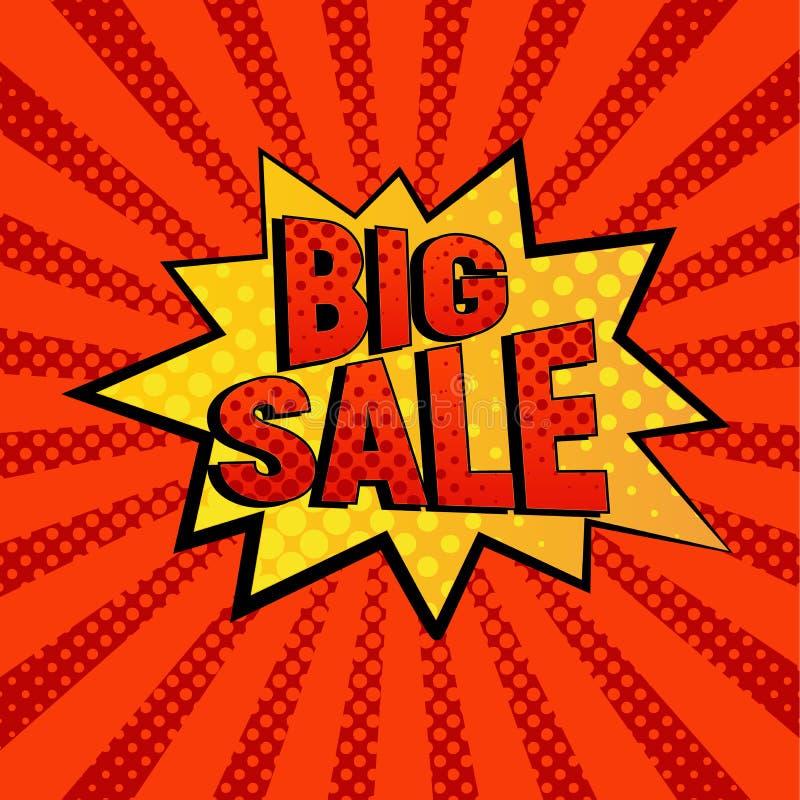 Μεγάλη πώλησης αστεριών διανυσματική απεικόνιση ύφους φυσαλίδων κωμική διανυσματική απεικόνιση