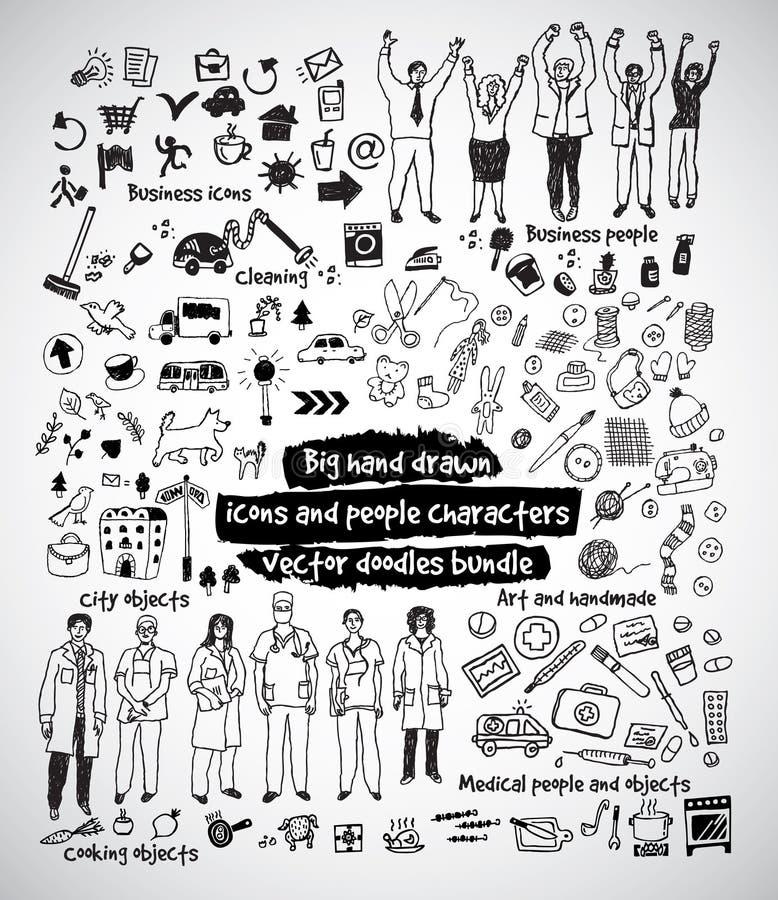 Μεγάλη συρμένη χέρι δέσμη εικονιδίων και ανθρώπων doodles ελεύθερη απεικόνιση δικαιώματος