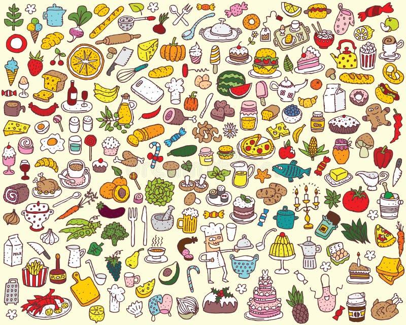 Μεγάλη συλλογή τροφίμων και κουζινών διανυσματική απεικόνιση