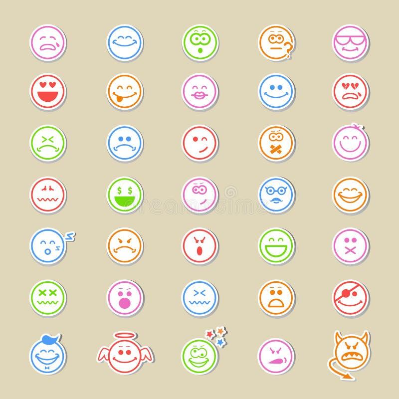 Μεγάλη συλλογή των στρογγυλών εικονιδίων smiley διανυσματική απεικόνιση