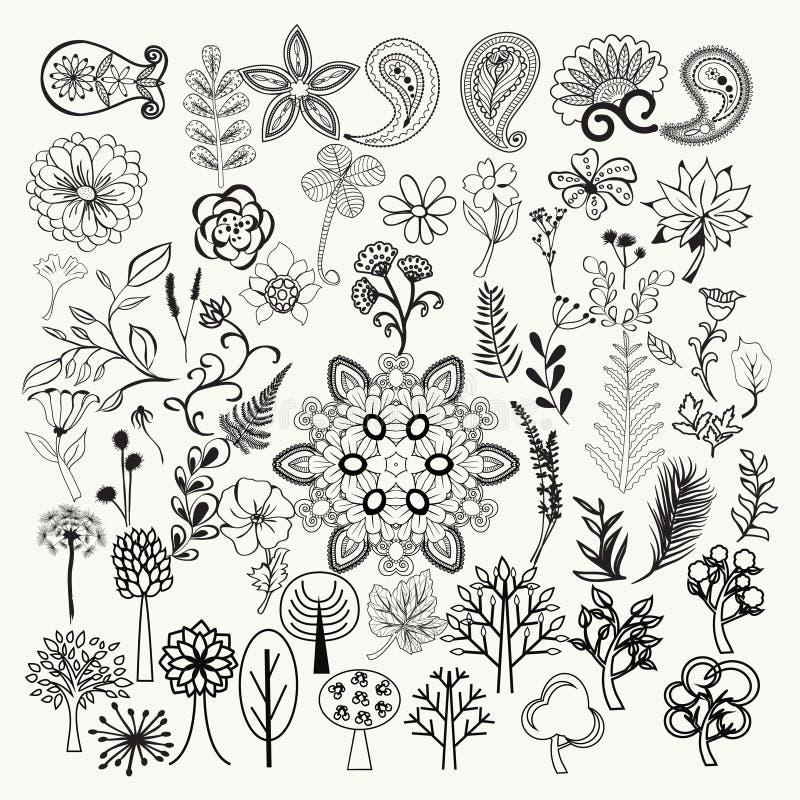 Μεγάλη συλλογή των hand-drawn γραπτών περίκομψων λουλουδιών, pla απεικόνιση αποθεμάτων
