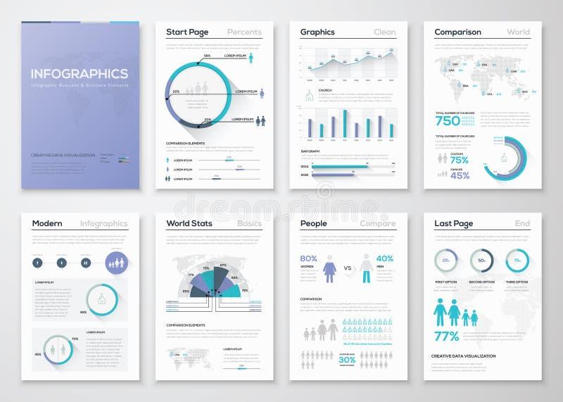 Μεγάλη συλλογή των infographic επιχειρησιακών φυλλάδιων και της γραφικής παράστασης διανυσματική απεικόνιση