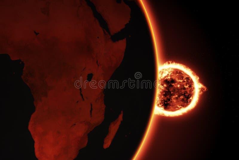 Μεγάλη σφαίρα πυρκαγιάς του ήλιου με τη γη ελεύθερη απεικόνιση δικαιώματος
