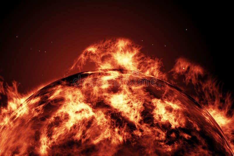 Μεγάλη σφαίρα πυρκαγιάς του ήλιου με τη γη απεικόνιση αποθεμάτων