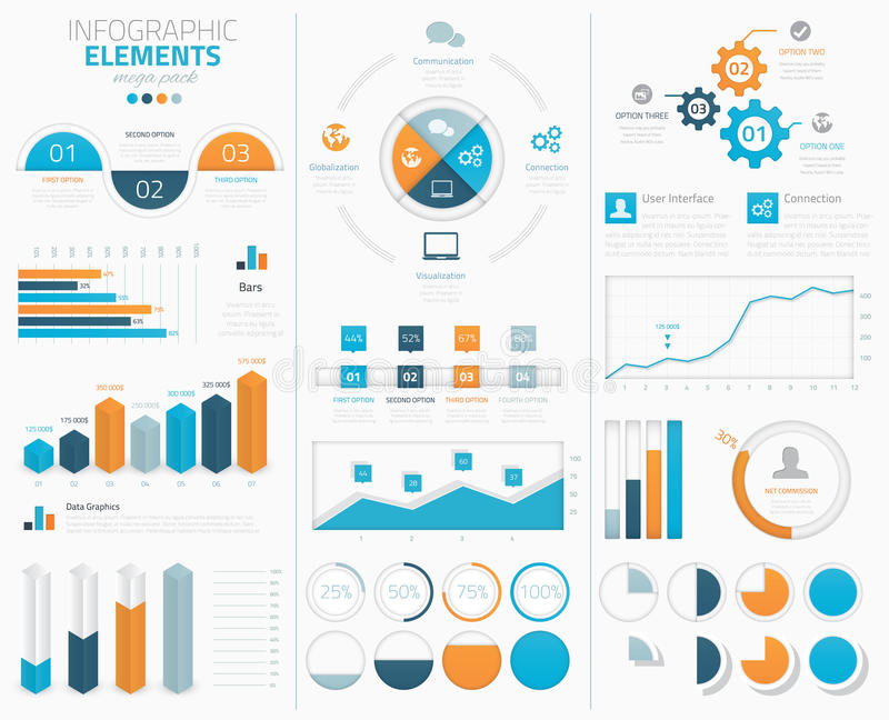 Μεγάλη infographic διανυσματική συλλογή στοιχείων στο disp διανυσματική απεικόνιση