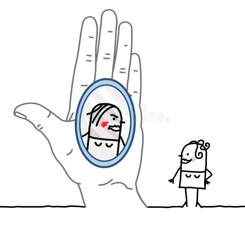 Μεγάλοι χέρι και χαρακτήρας κινουμένων σχεδίων - αντανάκλαση στον καθρέφτη ελεύθερη απεικόνιση δικαιώματος