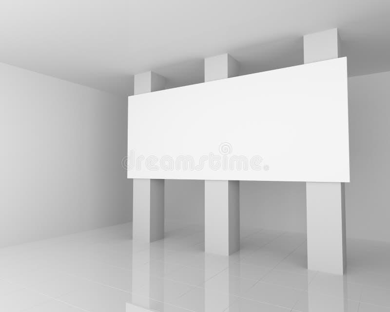 Μεγάλος άσπρος κενός πίνακας διαφημίσεων στο άσπρο εσωτερικό διανυσματική απεικόνιση