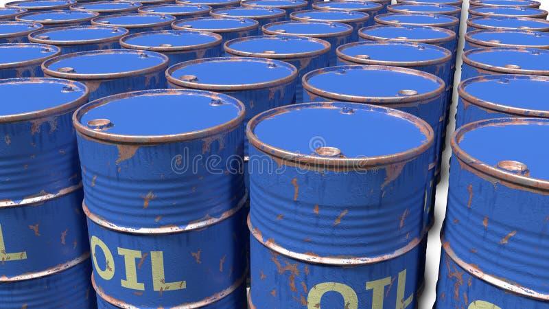 Μεγάλος αριθμός βρώμικων φορεμένων γρατσουνισμένων βαρελιών πετρελαίου στοκ εικόνες