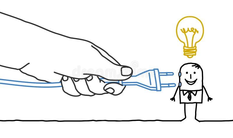 Μεγάλος επιχειρηματίας χεριών και κινούμενων σχεδίων - βούλωμα μέσα ελεύθερη απεικόνιση δικαιώματος