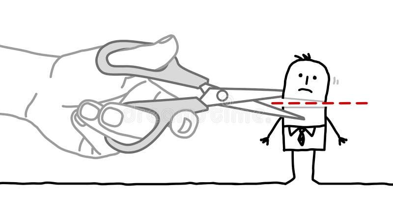 Μεγάλος επιχειρηματίας χεριών και κινούμενων σχεδίων - που κόβει το κεφάλι απεικόνιση αποθεμάτων