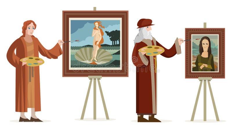 Μεγάλος ιταλικός καλλιτέχνης αναγέννησης που χρωματίζει μια redhead γυναίκα της Αφροδίτης σε ένα κοχύλι και ένα θηλυκό πορτρέτο γ ελεύθερη απεικόνιση δικαιώματος