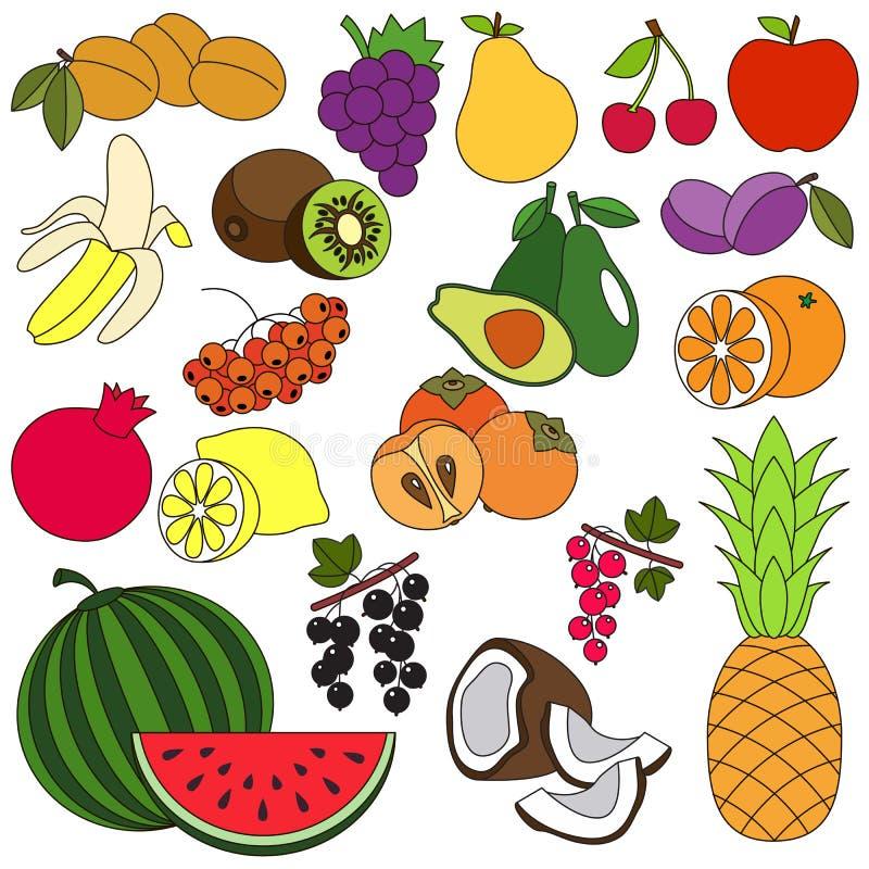 Μεγάλος καθορισμένος ζωηρόχρωμος φρούτων ελεύθερη απεικόνιση δικαιώματος
