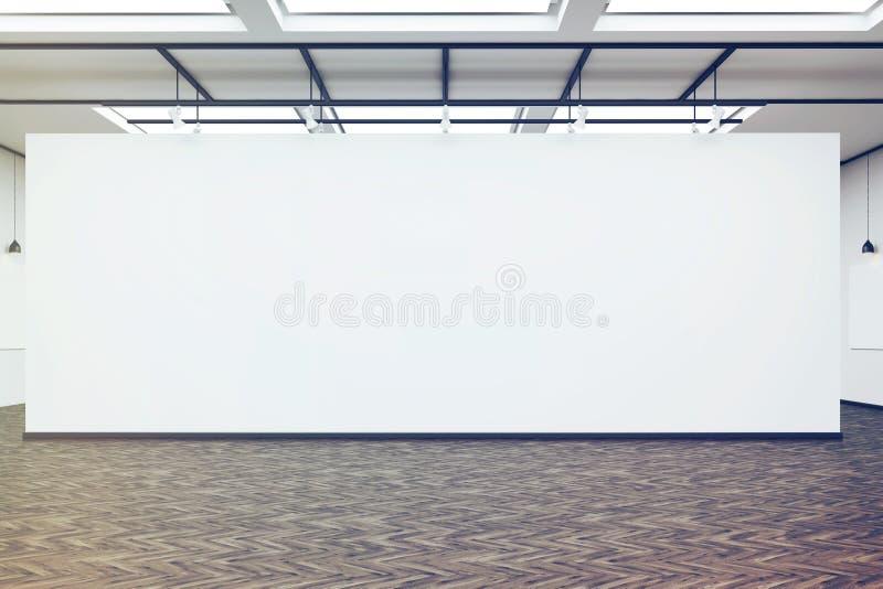 Μεγάλος κενός τοίχος σε ένα γκαλερί τέχνης με το σκοτεινό ξύλινο πάτωμα, που τονίζεται διανυσματική απεικόνιση