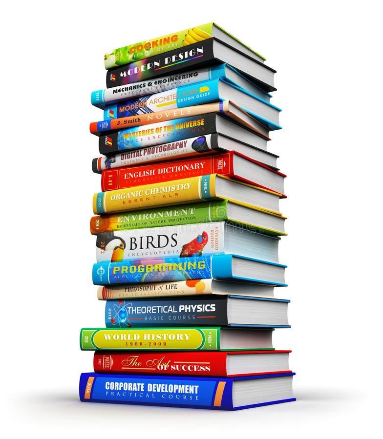 Μεγάλος σωρός των βιβλίων χρώματος hardcover απεικόνιση αποθεμάτων