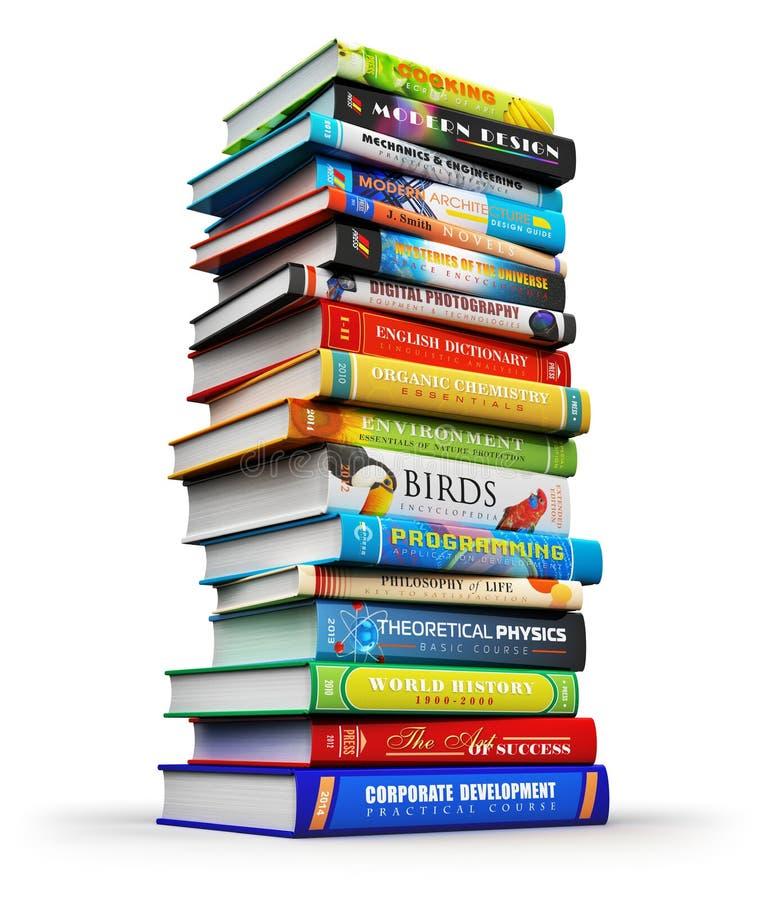 Μεγάλος σωρός των βιβλίων χρώματος hardcover ελεύθερη απεικόνιση δικαιώματος