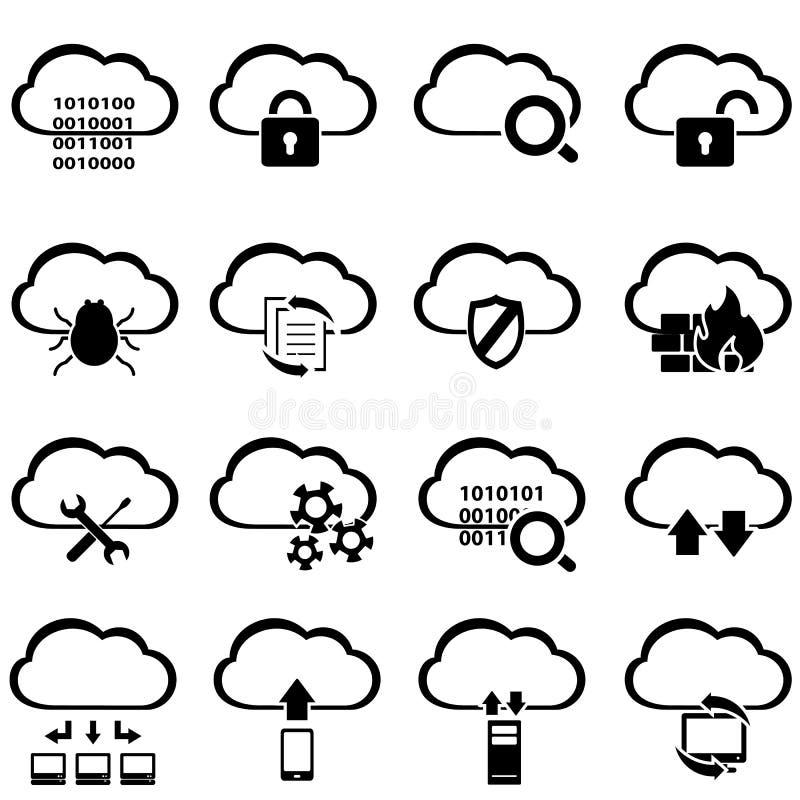 Μεγάλος υπολογισμός στοιχείων και σύννεφων διανυσματική απεικόνιση