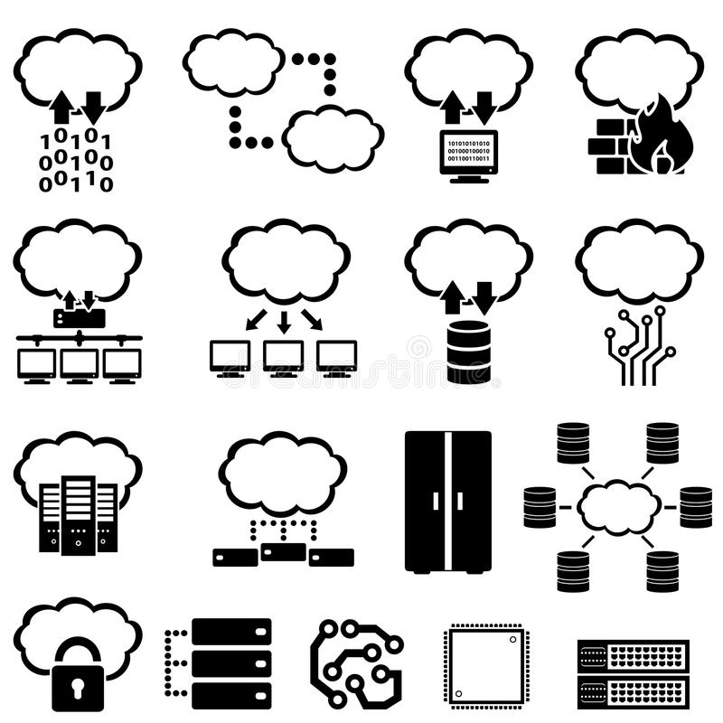 Μεγάλος υπολογισμός στοιχείων και σύννεφων απεικόνιση αποθεμάτων
