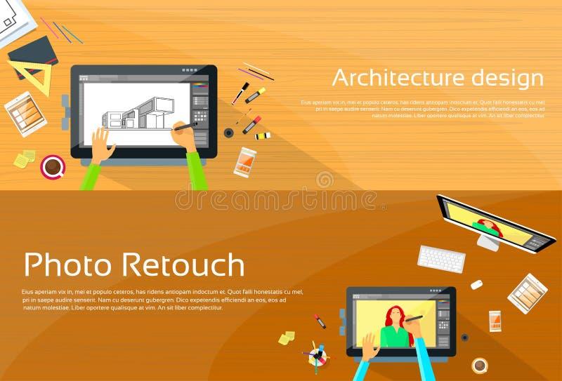 Μεγάλος ψηφιακός γραφείων εργασιακών χώρων σχεδιαστών αρχιτεκτονικής διανυσματική απεικόνιση