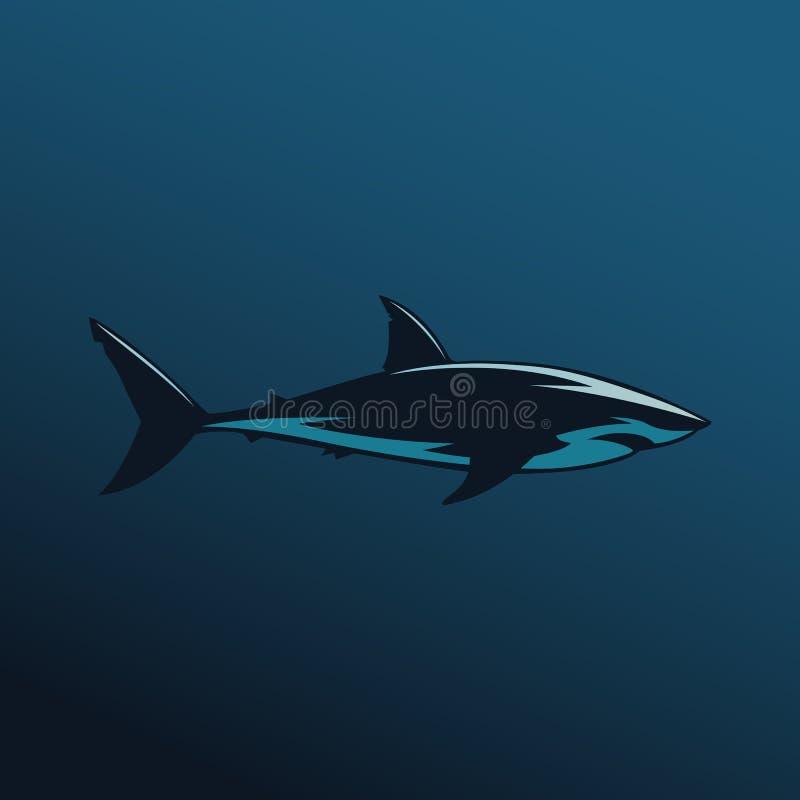 Μεγάλο άσπρο λογότυπο σημαδιών καρχαριών στο μπλε υπόβαθρο διανυσματική απεικόνιση