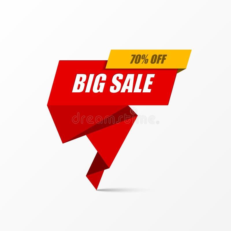 Μεγάλο έμβλημα πώλησης, αφίσα Ειδική προσφορά, 70% μακριά διάνυσμα διανυσματική απεικόνιση