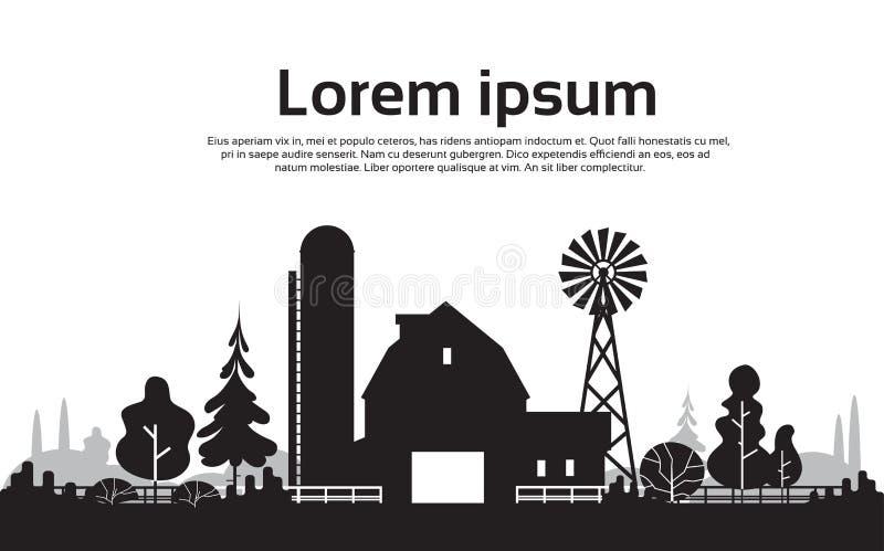 Μεγάλο αγρόκτημα σκιαγραφιών με το σπίτι, τοπίο επαρχίας καλλιεργήσιμου εδάφους διανυσματική απεικόνιση
