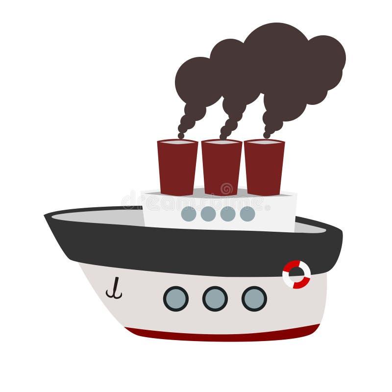 Μεγάλο ατμόπλοιο κινούμενων σχεδίων ελεύθερη απεικόνιση δικαιώματος