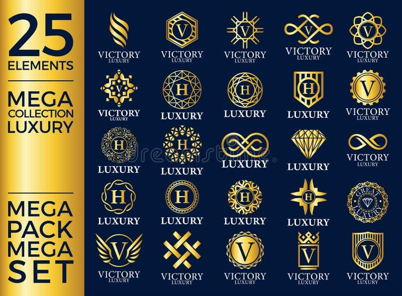 Μεγάλο βασιλικού και κομψού λογότυπων προτύπων διανυσματικό σχέδιο συνόλου πολυτέλειας, απεικόνιση αποθεμάτων