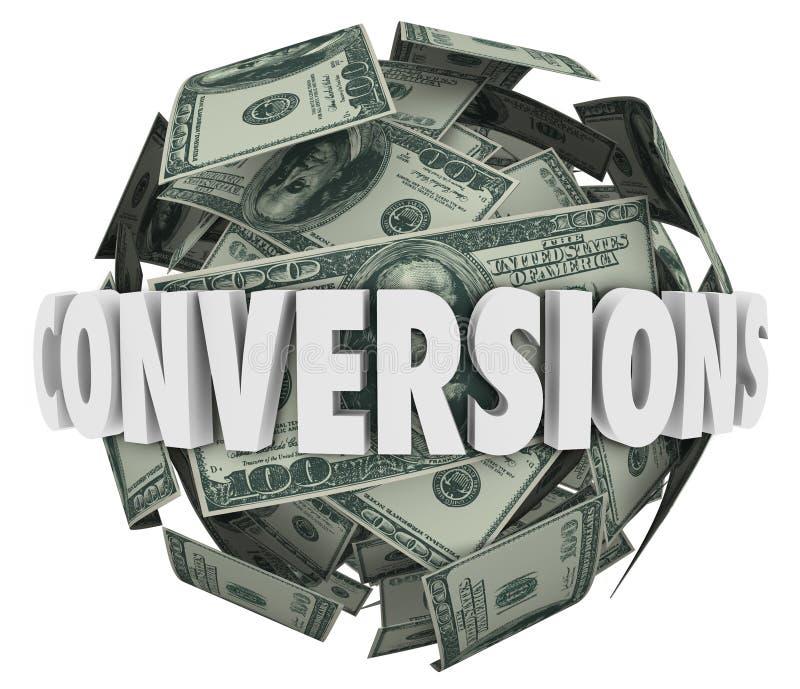 Μεγάλο εισόδημα κέρδους πωλήσεων σφαιρών χρημάτων του Word μετατροπών απεικόνιση αποθεμάτων