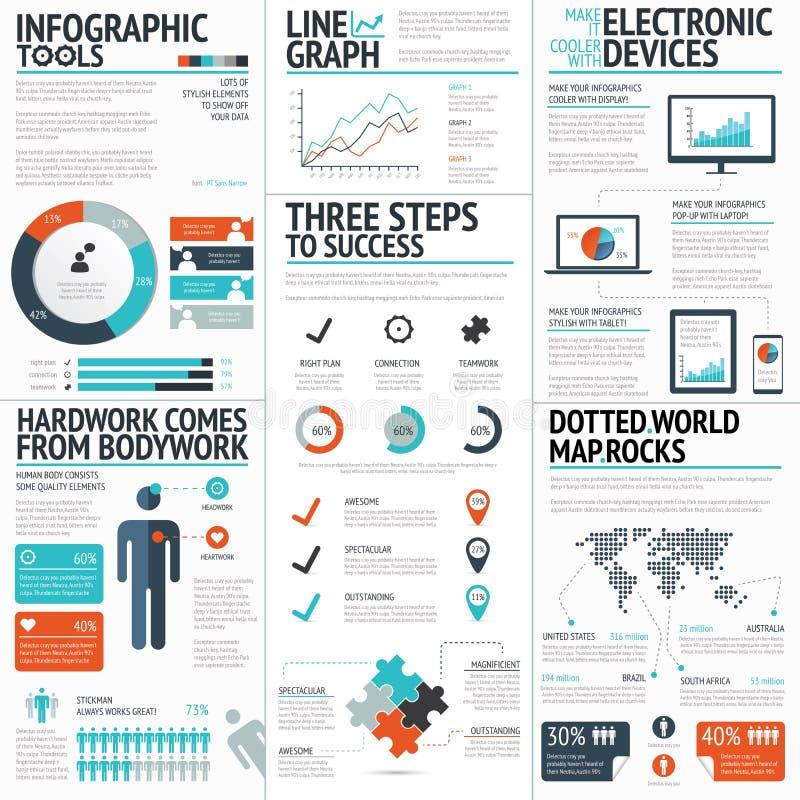 Μεγάλο ζωηρόχρωμο σύνολο infographic επιχειρησιακών στοιχείων με το διανυσματικό σχήμα διανυσματική απεικόνιση
