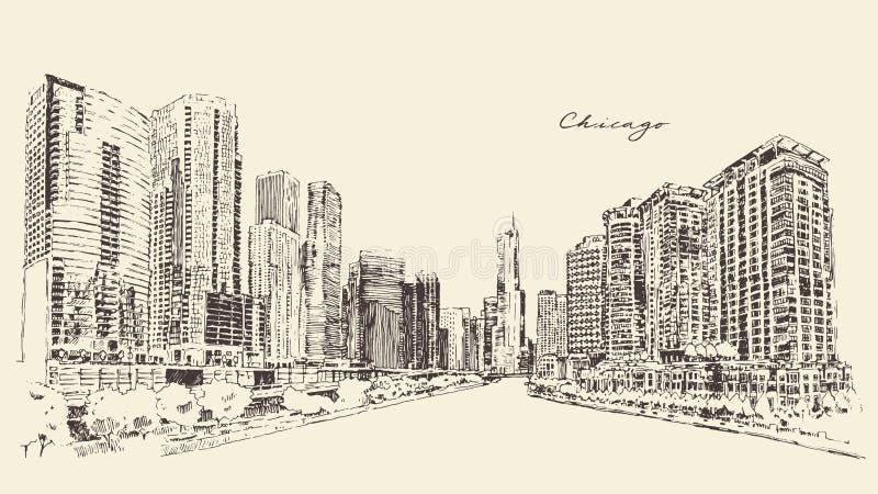 Μεγάλο διάνυσμα χάραξης αρχιτεκτονικής πόλεων του Σικάγου ελεύθερη απεικόνιση δικαιώματος