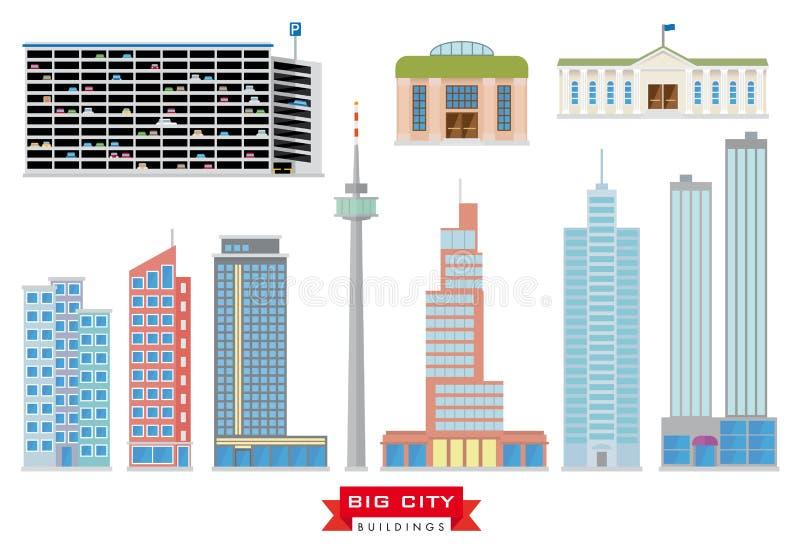 Μεγάλο διανυσματικό σύνολο κτηρίων πόλεων ελεύθερη απεικόνιση δικαιώματος