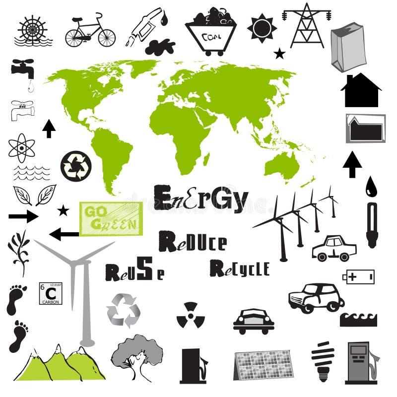 Μεγάλο διανυσματικό σύνολο περιβαλλοντικό ελεύθερη απεικόνιση δικαιώματος