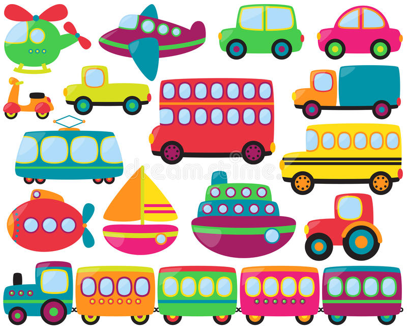 Μεγάλο διανυσματικό σύνολο χαριτωμένων οχημάτων μεταφορών διανυσματική απεικόνιση