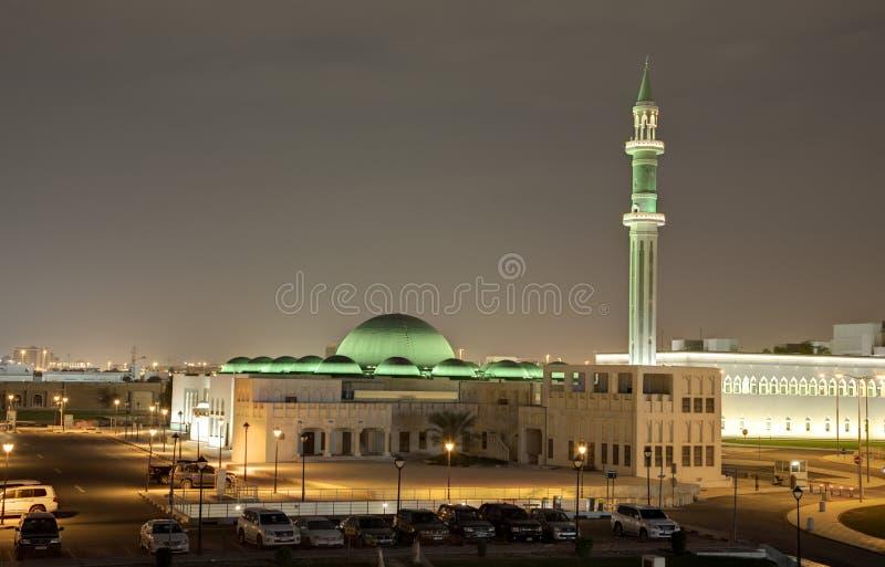 Μεγάλο μουσουλμανικό τέμενος σε Doha τη νύχτα Κατάρ στοκ φωτογραφίες με δικαίωμα ελεύθερης χρήσης