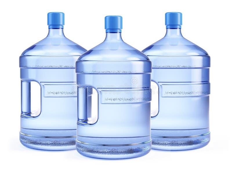 Μεγάλο μπουκάλι τρία του καθαρού νερού απεικόνιση αποθεμάτων
