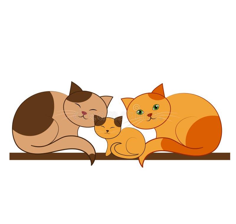 μεγάλο οικογενειακό γατάκι γατών μικρό ελεύθερη απεικόνιση δικαιώματος