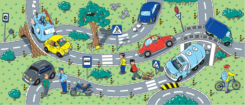 Μεγάλο οδικό άνευ ραφής σχέδιο ή υπόβαθρο διανυσματική απεικόνιση