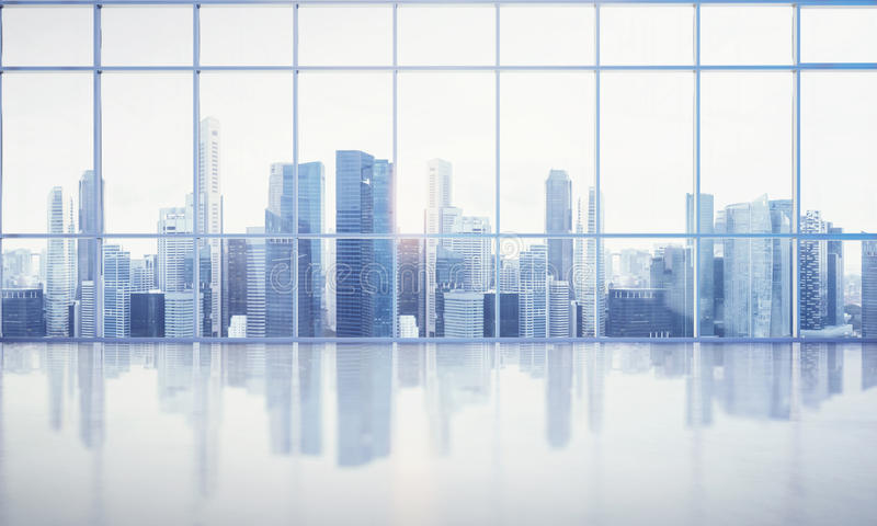 Μεγάλο παράθυρο στο άσπρο γραφείο με megalopolis την άποψη στοκ φωτογραφία με δικαίωμα ελεύθερης χρήσης