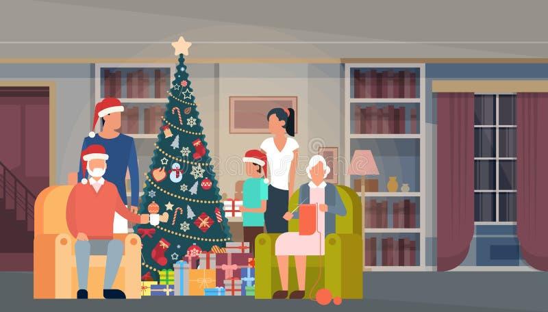 Μεγάλο πράσινο δέντρο οικογενειακών Χριστουγέννων με το εσωτερικό έμβλημα καλής χρονιάς διακοσμήσεων σπιτιών κιβωτίων δώρων ελεύθερη απεικόνιση δικαιώματος
