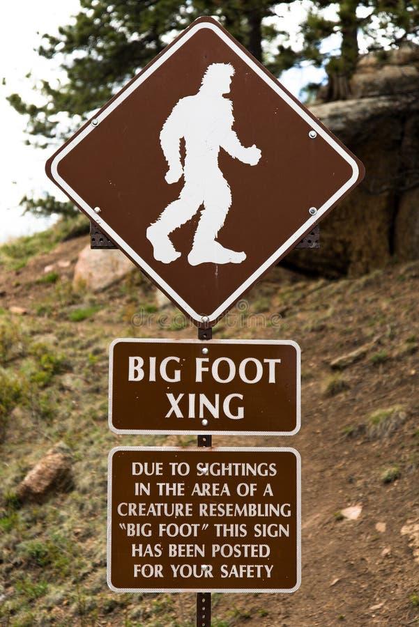 Μεγάλο πόδι που διασχίζει το σημάδι οδών ασφάλειας στοκ φωτογραφίες με δικαίωμα ελεύθερης χρήσης