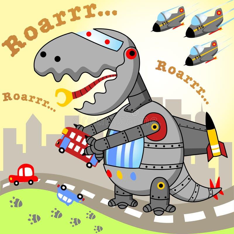 Μεγάλο ρομπότ δεινοσαύρων διανυσματική απεικόνιση