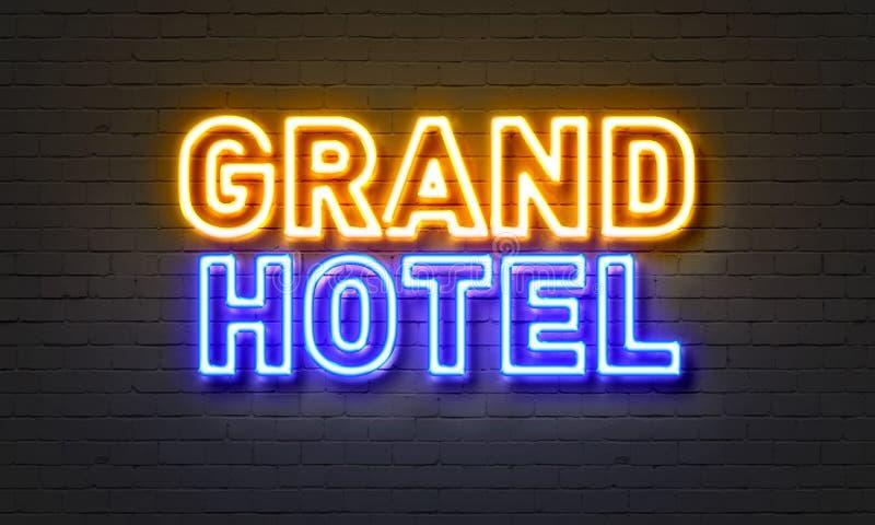 Μεγάλο σημάδι νέου ξενοδοχείων στο υπόβαθρο τουβλότοιχος απεικόνιση αποθεμάτων