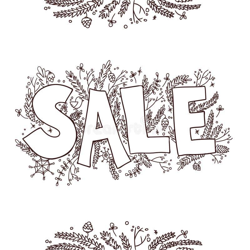 Μεγάλο σκίτσο πώλησης Συρμένη χέρι διανυσματική απεικόνιση με τους κλαδίσκους, πεύκο απεικόνιση αποθεμάτων